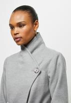 edit - High neck waterfall coat - grey melange