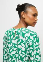 edit - V neck tiered midi dress- green mono