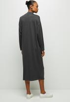 edit - Funnel neck column dress - dark grey