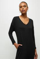 edit - Oversized knit jumpsuit - black