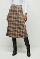 edit - Pleated check midi skirt - stone & burgundy