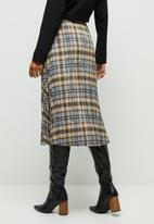 edit - Pleated check midi skirt - blue & beige