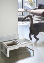 Yamazaki - Tower pet food bowl stand set - white
