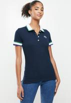 Aca Joe - Contrast collar pique golfer - navy