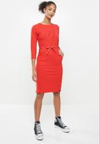 Aca Joe - Drawstring dress - red