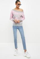 Sissy Boy - Rekon: off the shoulder monchrome logo knitwear - pink & grey