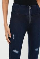 SISSY BOY - High rise knit & denim combo with rips - dark blue
