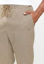Jonathan D - Check trouser with elasticated waistband - brown & black