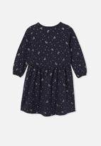 Cotton On - Savannah long sleeve dress - peacoat/gold night magic
