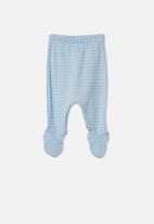 Cotton On - Organic newborn footed legging - white water blue/milk salla stripe