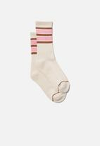 Cotton On - Club house crew sock - cocoa bean/pink cherry blossom