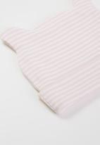 Little Lumps - Stripey ear hat - pink & white