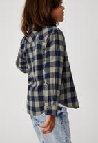 Cotton On - Rugged long sleeve shirt - sage & navy