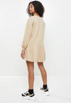 Blake - Fleece drop waist mini dress - beige