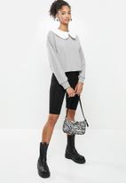 Blake - Fleece combo sweater with peterpan collar - grey
