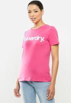 Superdry. - Cl flock tee - hot pink