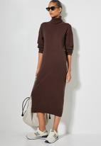 Superbalist - Organic cotton balloon sleeve knitwear dress - chocolate brown