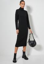 Superbalist - Organic cotton balloon sleeve knitwear dress - black
