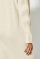 Superbalist - Organic cotton balloon sleeve knitwear dress - oatmeal