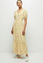 edit - Puff sleeve tiered maxi dress - yellow
