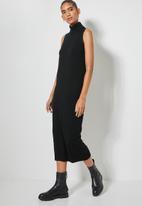 Superbalist - Organic cotton sleeveless knitwear dress - black