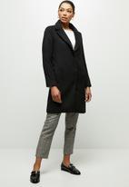 edit - Fuzzy Melton coat - black