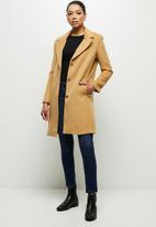 edit - Fuzzy Melton coat - tan