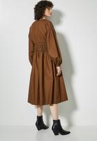 Superbalist - Shirred waisted dress - brown