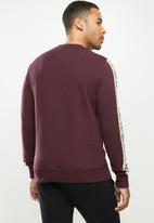 Aca Joe - Aca Joe sleeve stripe fleece crew neck pullover - burgundy