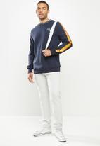 Aca Joe - Aca Joe sleeve stripe fleece crew neck pullover - navy
