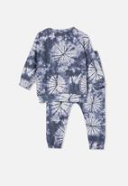 Cotton On - Marcus long sleeve lounge set - super soft tie dye/navy blazer