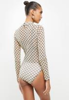 Sissy Boy - Sheer genius mesh bodysuit - beige