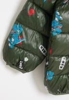POP CANDY - Boys dino puffer jacket - olive