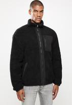 Factorie - Reversible sherpa ski jacket - black