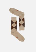Jonathan D - Branded socks - tan
