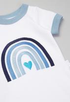 Little Lumps - Rainbow onesie - blue & white
