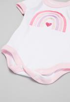 Little Lumps - Rainbow onesie - pink & white