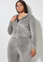 VELVET - Plush velvet zip through hoodie - grey