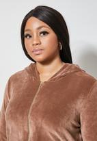 VELVET - Plush velvet zip through hoodie - mink