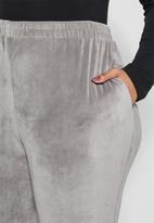 VELVET - Plush velvet high rise track pant - grey