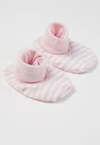 Little Lumps - Shoes ribbed - pink & white