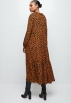 MILLA - Piecrust neck pleated midi dress-  bombay brown spot