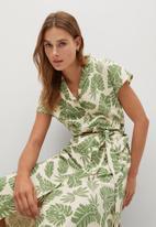 MANGO - Leaf print shirt dress - green