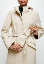 edit - Hooded melton jacket - oatmeal