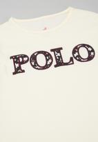 POLO - Girls maya long sleeve printed tee - off white