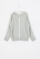 POP CANDY - Boys side tape zip through hoodie - grey