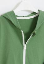 POP CANDY - Boys side tape zip through hoodie - green