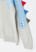 POP CANDY - Boys dino knitwear - grey & blue