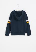 POP CANDY - Boys side stripe zip through hoodie - navy
