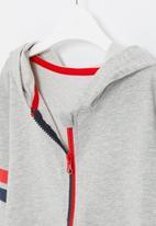 POP CANDY - Boys side stripe zip through hoodie - grey